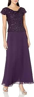 J Kara Women's Short Sleeve Long All Over Beaded Dress Petite