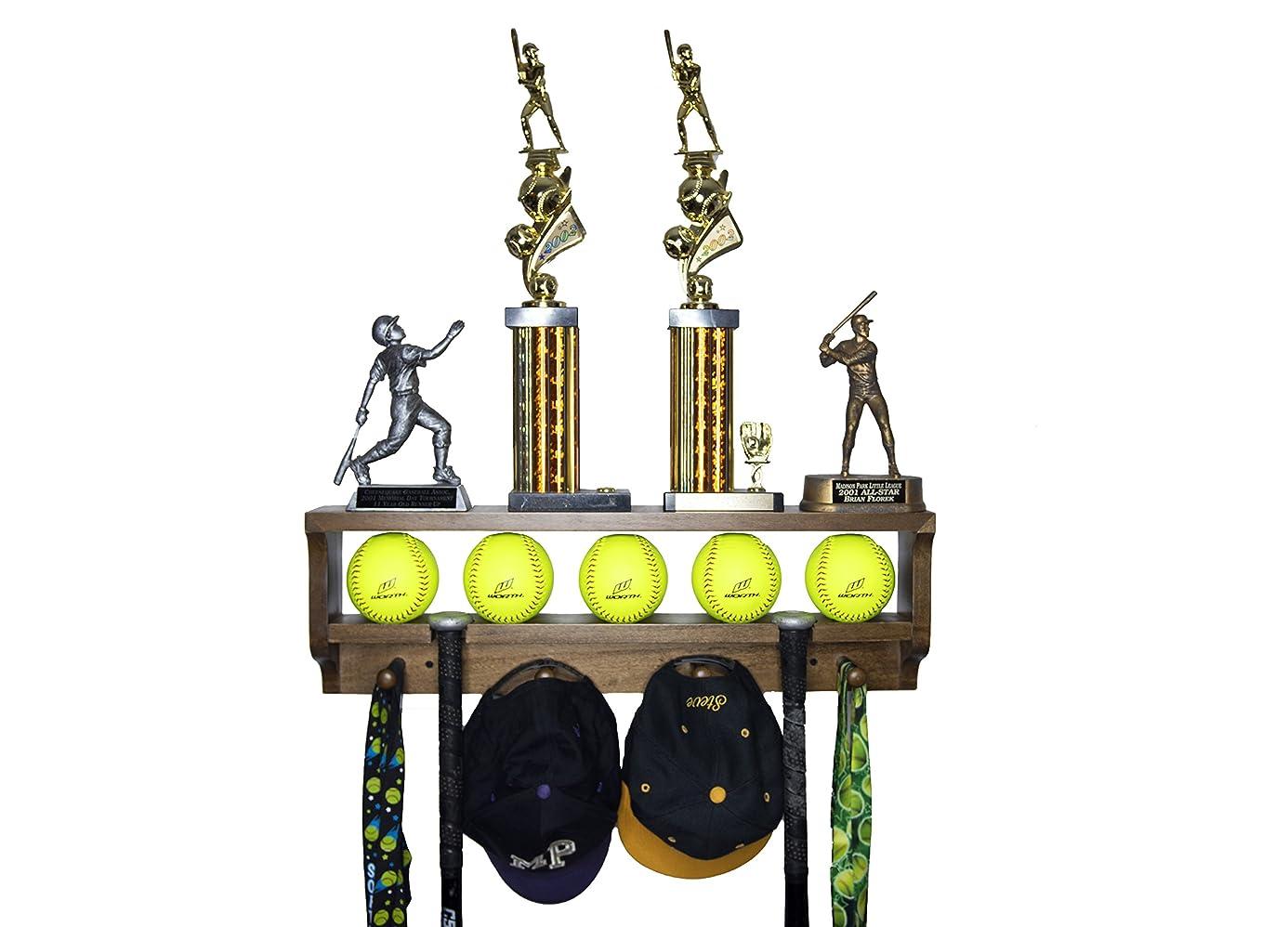 MedalAwardsRack Premier Baseball/Softball Accessory Display Rack and Baseball Trophy Shelf