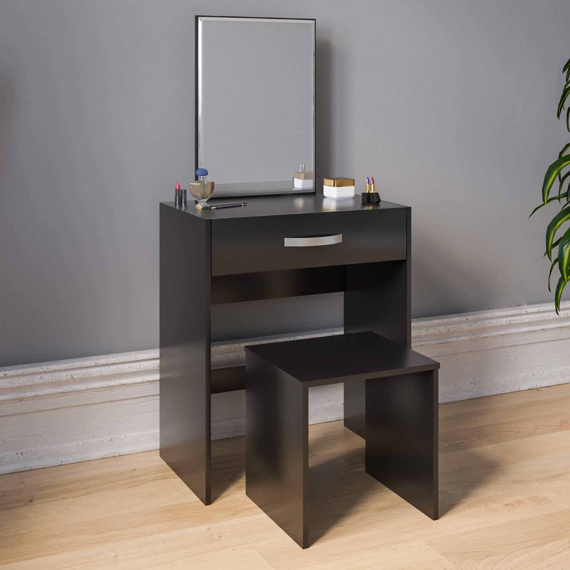 Vida Designs Isla-Juego de tocador para Dormitorio 1 caj/ón, Espejo y Taburete Color Blanco 130 x 63.5 x 39 Cm