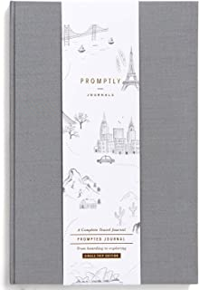 Promptly Journals – Compact Travel Journal, Elegant Minimalist Design, Linen Wrapped, Prompts to Track Your Travels, Keepsakes, Photos (Solid Grey)