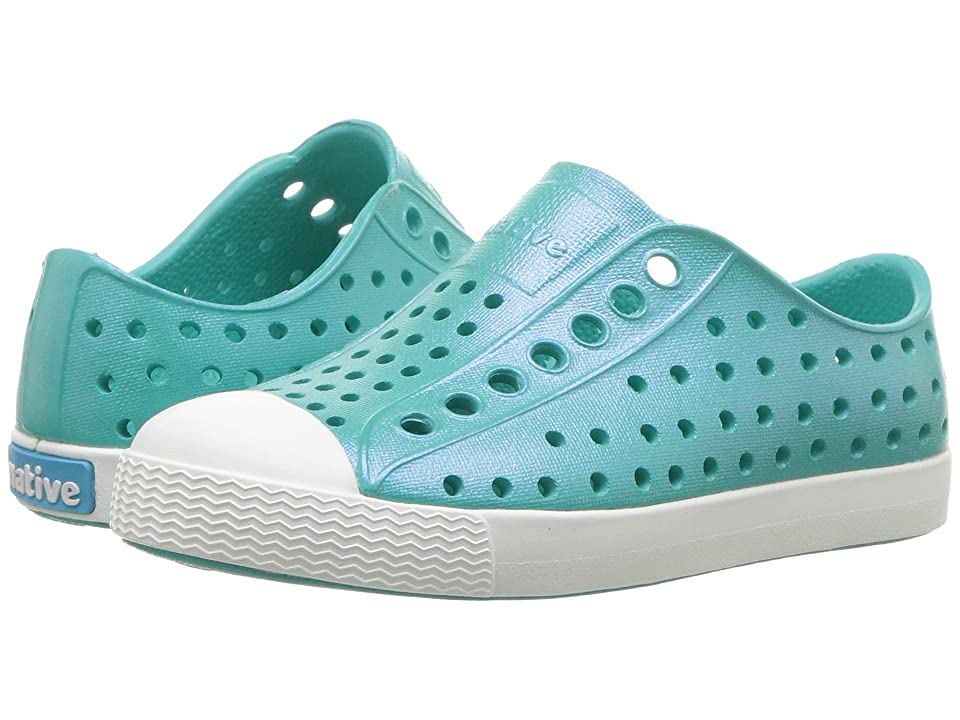 Native Kids Shoes Jefferson Iridescent (Toddler/Little Kid) (Glacier Green/Shell White/Galaxy) Girls Shoes