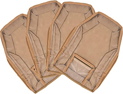 Kuber Industries 4 Piece Non Woven Blouse Cover with Front Transparent Window with Attached Pocket Set (Brown)