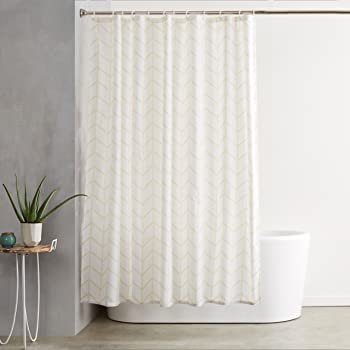 Amazon Basics Mold and Mildew Resistant Shower Curtain with Hooks, 72-Inch, Natural Herringbone