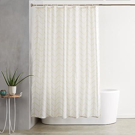 Amazon Basics Shower Curtain with Hooks, 72-Inch, Natural Herringbone