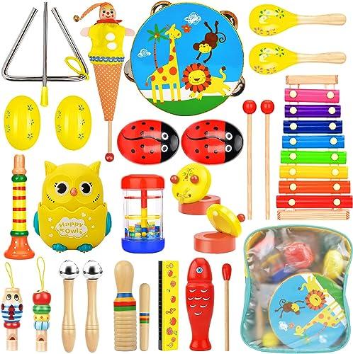 Wesimplelife Instruments de Musique Jouets de Percussions Enfants Set en Bois Instruments pour Bébé avec Xylophone, T...