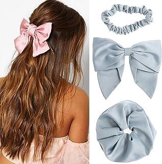 Bow Hair Scrunchies Barrette Set - 3 Pcs Elastic Hair Scrunchies Bow Hair Clips Solid color for Women Ponytail Holder Hair...