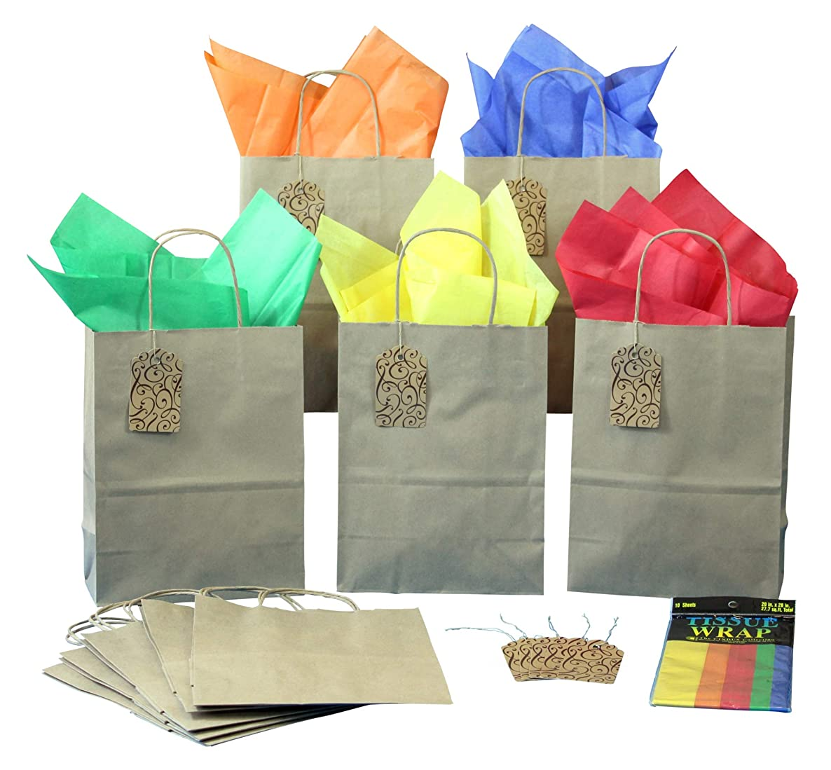 BagLove 10 Pack Gift Bags with Tissue Paper + Tags - Medium Size Bags with Handles (8
