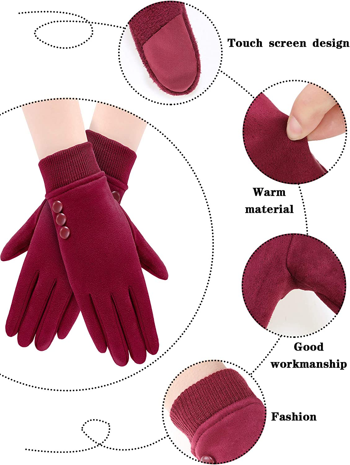 4 Pairs Women Winter Warm Gloves Touchscreen Windproof Gloves Lined Thick Gloves (Classic Colors, 3-Buttons Design)
