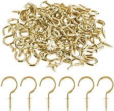 ASTARON 1/2 Inch 100 STKS Metalen Plafond Haken Messing Geplateerde Haak Houder Schroef Haken voor Opknoping (Goud)