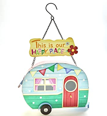 The Lakeside Collection Camper Hanging Birdhouse - This is Our Happy Place - Ready to Hang