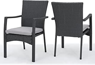 Christopher Knight Home 300198 Tigua Outdoor Grey Wicker Dining Chair with Cushions (Set of 2)