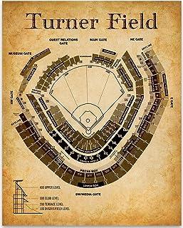 Turner Field of Atlanta Baseball Seating Chart - 11x14 Unframed Art Print - Great Sports Bar Decor and Gift Under $15 for ...