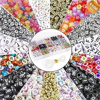 EuTengHao 1100 piezas de abalorio de alfabeto mixto de acrílico A-Z con forma de cubeta, para hacer joyas, pulseras, collares, llaveros y joyería para niños