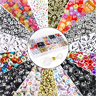 EuTengHao 1100 Pieces Mixed Acrylic Alphabet A-Z Cube Letters Beads DIY Bracelet Letter Beads for Jewelry Making, Bracelets, Necklaces, Key Chains and Kids Jewelry Early Childhood Toys Making Kit