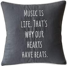 EURASIA DECOR DecorHouzz Music Lover Embroidered Pillow Cover Gift Music Teacher Guitar Player Piano Player Graduation Teen Wedding (18X18, Music is Life(Grey))