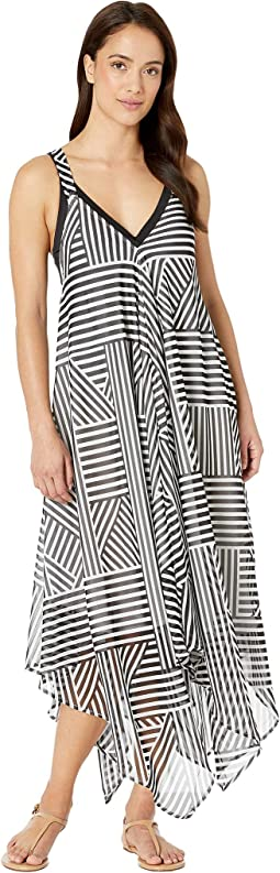Fractured Stripe Scarf Dress Cover-Up