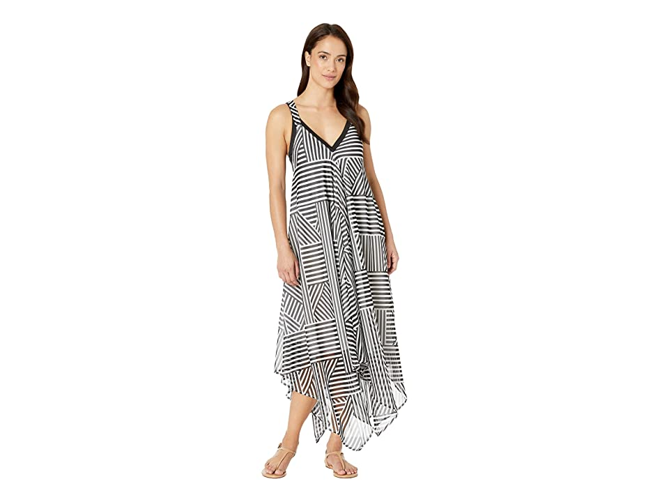 Tommy Bahama - Tommy Bahama Fractured Stripe Scarf Dress Cover-Up