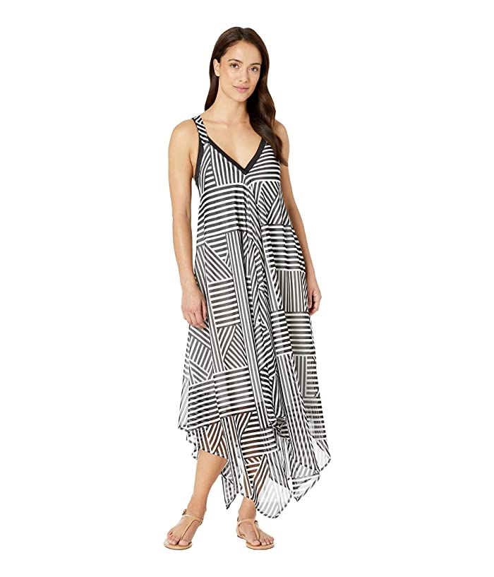 Tommy Bahama Fractured Stripe Scarf Dress Cover-Up (Black/White) Women