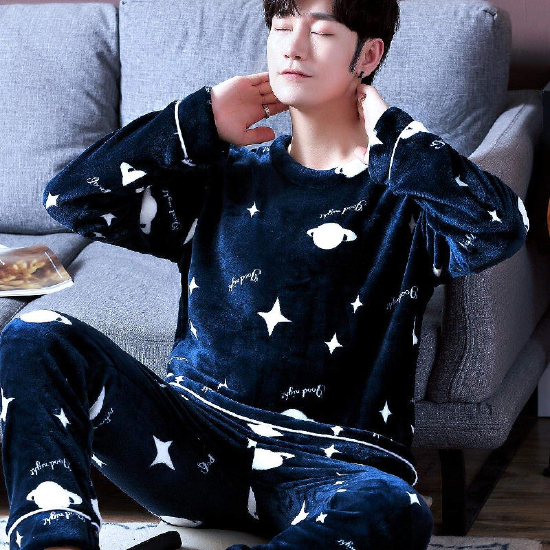 STJDM Nightgown,Flannel Pajamas Set Men Sleep Set Winter Warm Plus Size Nightwear Casual Bathrobe Sleepwear Thick Coral Fleece Homewear Pijamas L Style10