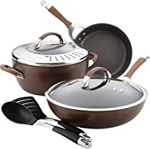 Circulon Symmetry Hard Anodized Nonstick Cookware Pots and Pans Set, 8 Piece, Chocolate Brown
