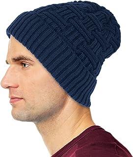 Debra Weitzner Mens Slouchy Beanie Wool Knit Winter Hat Skull Cap with Fur Lining