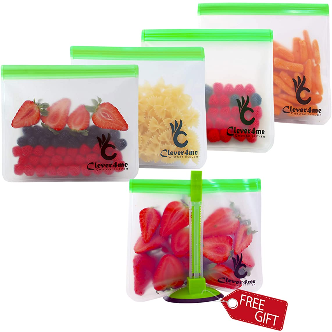 5 Reusable Storage Bags EXTRA THICK + FREE BAGGY RACK - Reusable Ziplock Bags Perfect for Food Storage, Snacks or Veggies–Premium Leak-Free Baggies for Travel or Make Up - Eco Friendly Large pack