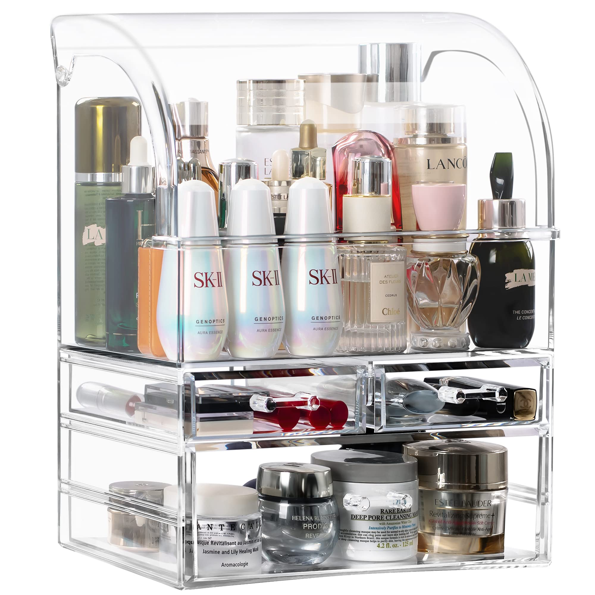 T-SIGN Large Makeup Organizer Storage, Acrylic Cosmetics Display Cases, Perfume Dustproof Waterproof Skin Care Organizer for Counter Dresser, Lipsticks, Skincare Products, Clear