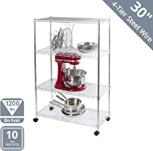 Seville Classics 4-Tier Steel Wire Shelving with Wheels, 30