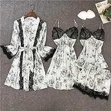 Dames Badjas Dames Satijn Casual 4 Stks Badjas Set Kimono Jurk Pak Sexy Nachthemd Nachtkleding Print Home Kleding