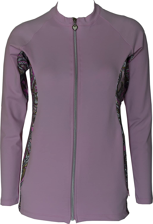 Private Island Hawaii Women UV Wetsuits Long Sleeve Rash Guard Top Zipper Jacket (XXLarge, Pink with Pink gold Spot)