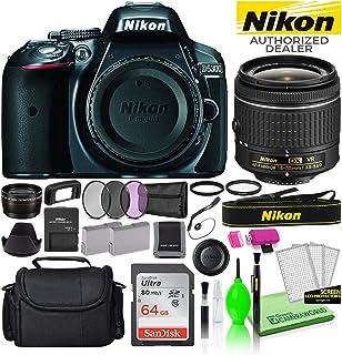 Nikon D5300 24.2MP DSLR Digital Camera with 18-55mm AF-P VR Lens (Grey) (1521) USA Model Deluxe Bundle -Includes- Sandisk 64GB SD Card + Large Camera Bag + Filter Kit + Spare Battery + Telephoto Lens