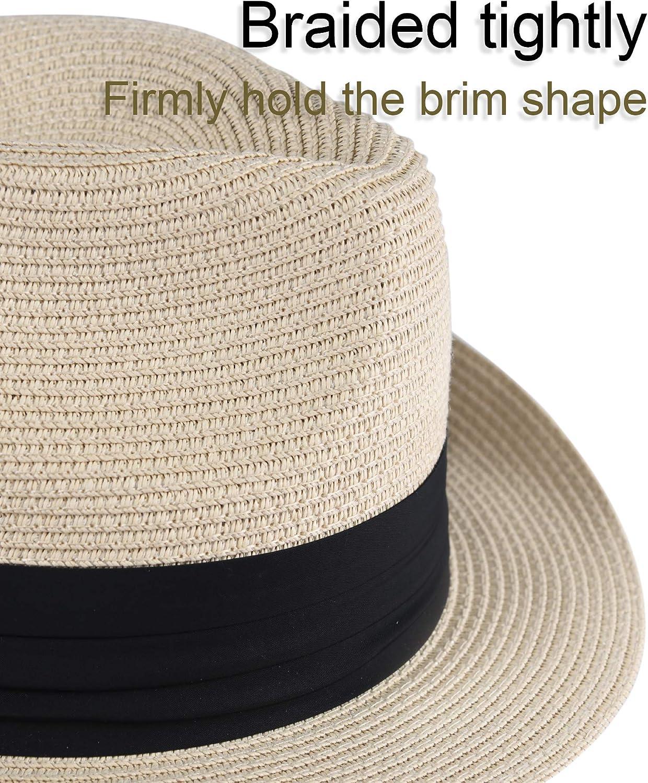 FURTALK Fedora Straw Sun Hat for Men Women Foldable Roll Up Short Brim Trilby Hat Panama Beach Hat UPF 50+