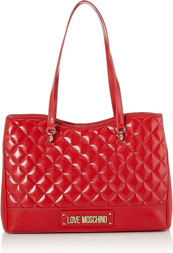 Love moschino quilted, borsa per donna, in pelle sintetica con effetto trapuntato JC4203PP08KA0