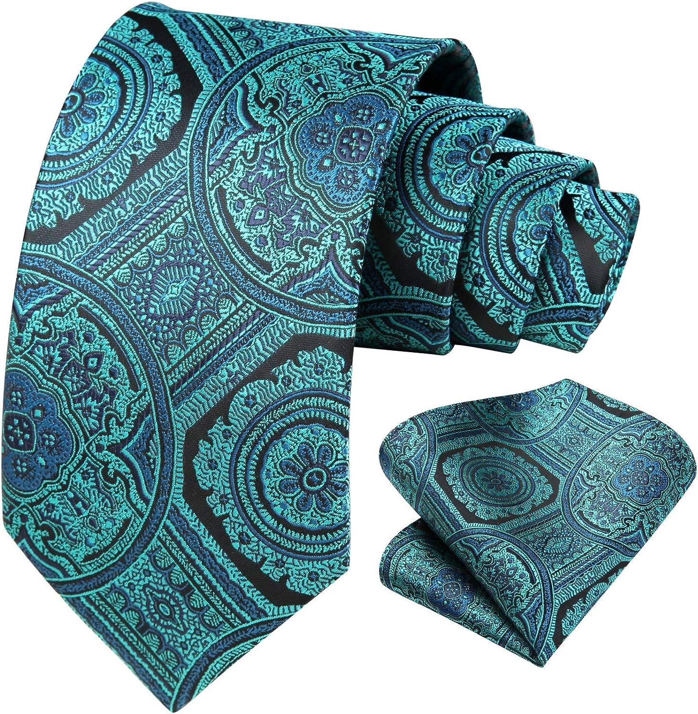 Men Solid Paisley Tie Set Woven Classic Floral Necktie & Pocket Square Formal Wedding