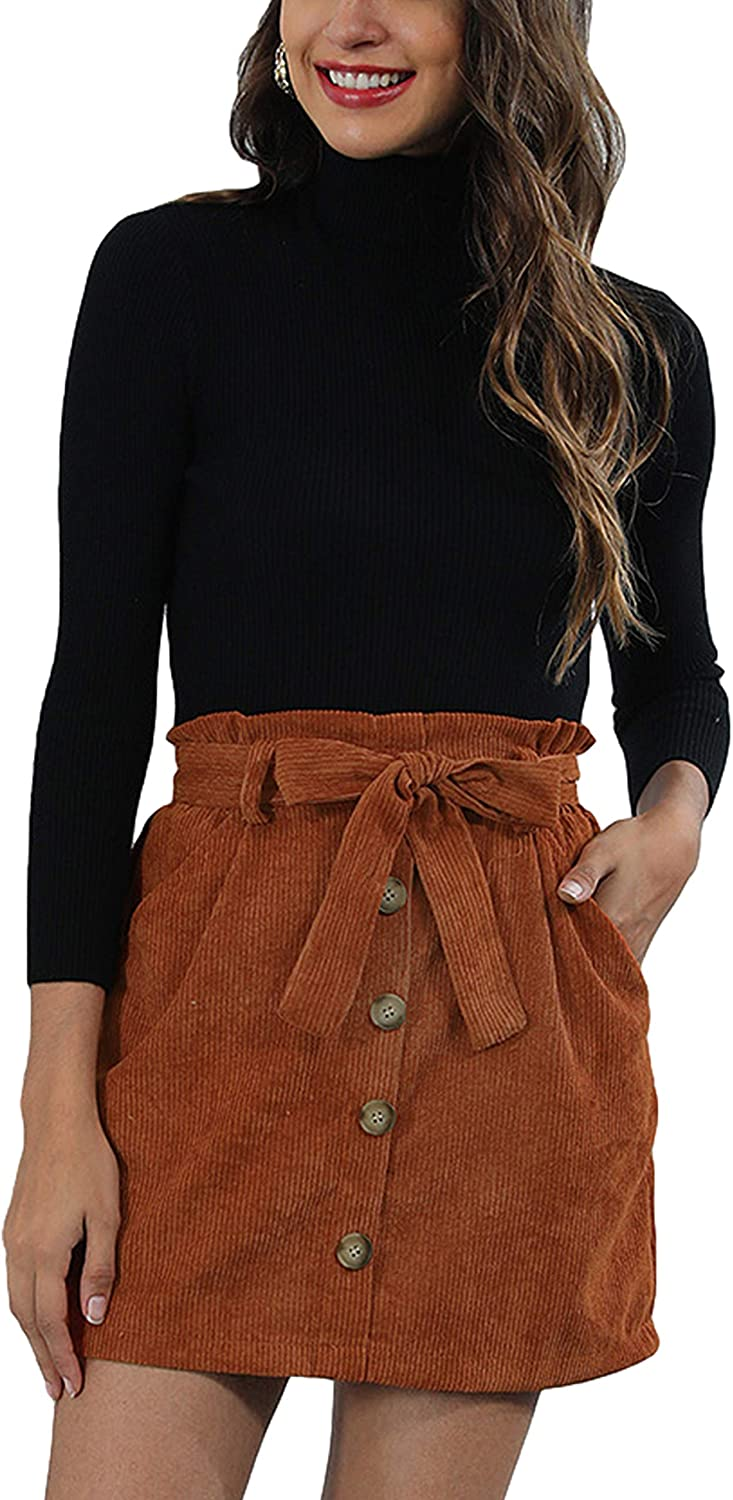 Yimoon Women's Casual Short Corduroy A-Line Belted Skirts with Pockets