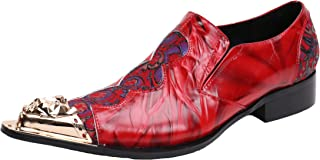 Santimon Chelsea Pointed Toe Western Embroidery Leather Dress Men Shoes