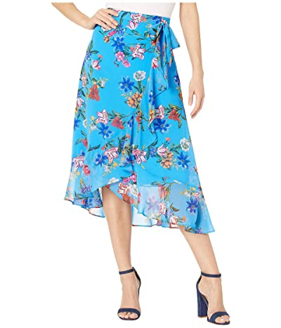 Calvin Klein Ruffle Front Skirt w/ Tie (Ocean Multi) Women