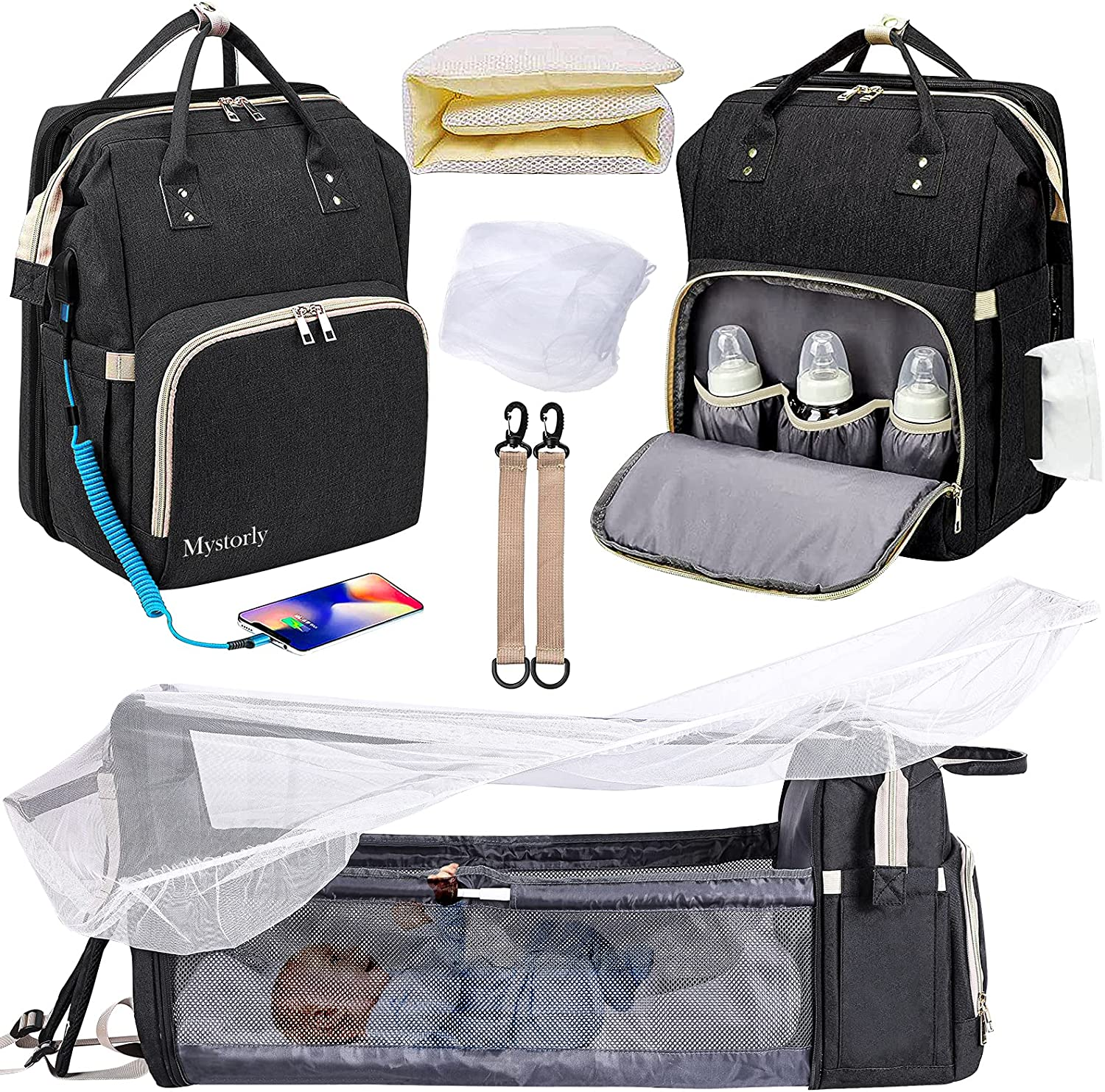 Diaper Bag Backpack with Changing Station 3 in 1 Foldable Baby Bed Backpack with Shade Cloth,Mattress, Mosquito Net Built-in USB & Stroller Straps Large Capacity Waterproof Portable Diaper Bags