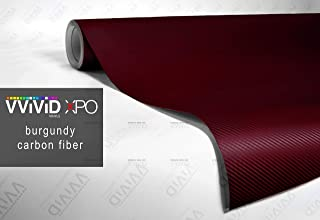 VViViD XPO Burgundy Dry Carbon Fiber 1 Foot x 5 Feet Vinyl Wrap Roll with Air Release Technology