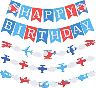 Airplane Aviator Themed Party Decorations, Plane Birthday Party Supplies for Boys, Airplane Birthday Party Decorations with Happy Birthday Banner, Airplane Happy Birthday Banner Pennant