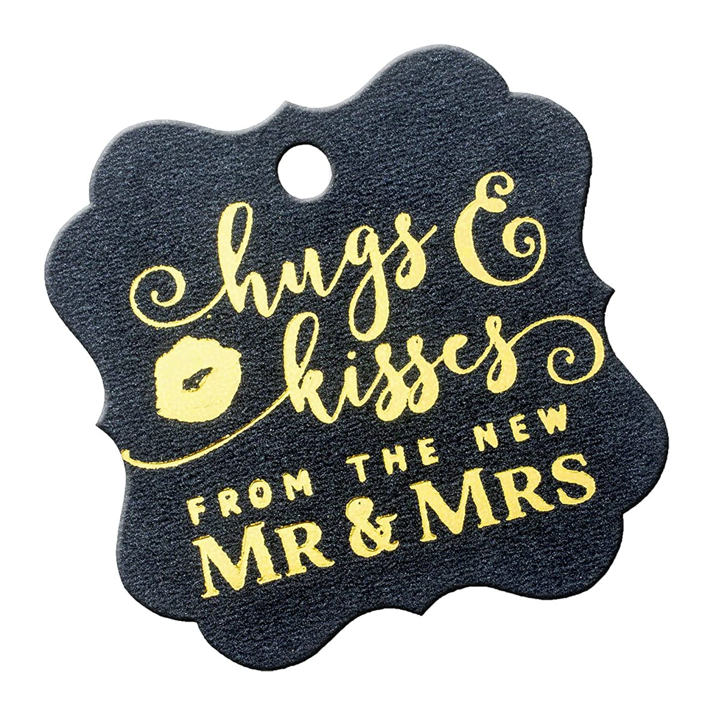 Summer-Ray 50pcs Gold Foil Hot Stamping Shimmered Black Elegant Square Hugs & Kisses from the New Mr & Mrs Wedding Favor Gift Tags