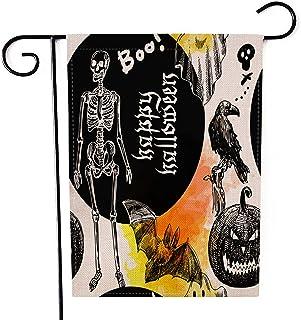 "Fiuqaomy Happy Halloween Boo Bat Ghost Garden Flag Vertical Double Sized, Holiday Burlap Yard Outdoor Decoration 12.6"" 18.5"""
