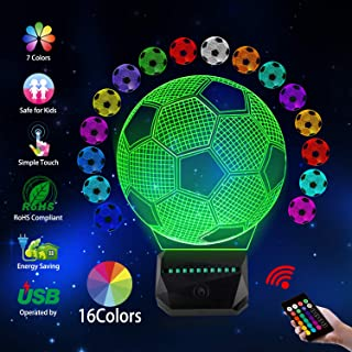 GDOULW 3D LED Night Light Soccer Rechargeable 3D Optical Illusion Lamp for Kid Girl Boy Bedroom Soccer Lamps with Remote Control 16 Color Touch Operated USB Battery Power Decor Xma (3D Soccer)