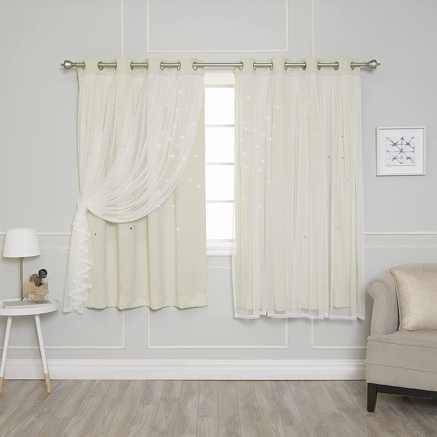 Best Home Fashion Tulle Overlay Star Cut Out Blackout Curtains - Stainless Steel Grommet Top - Biscuit - 52