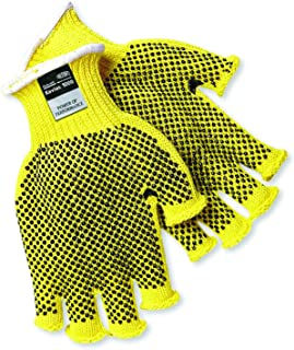 MCR Safety 9369M Kevlar Regular Weight 7 Gauge Dotted Fingerless Gloves with PVC Dots On 2-Side, Yellow, Medium, 1-Pair
