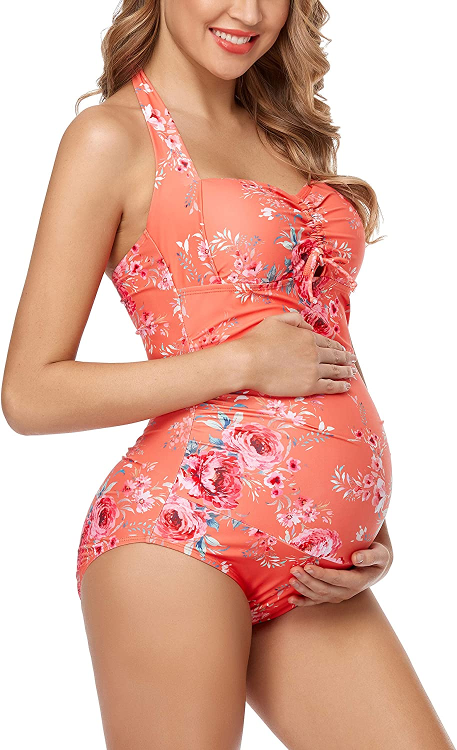 EastElegant Maternity Swimwear One Piece Halter Pregnancy Swimsuit Floral Bathing Suits with Adjustable Chest Drawstring