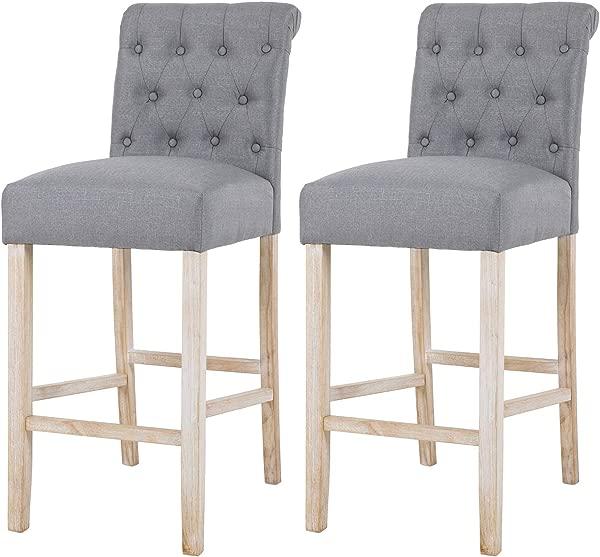 NOBPEINT Fabric Upholstered Barstool Solid Wood Legs 30 Gray Set Of 2