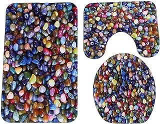 Colorful 3Pcs/Set Bath Toilet Mat Stone Bathroom Non Slip Flannel Rug + Cushion Covers + Bath Mat Home Decor Bathroom Carpet,A