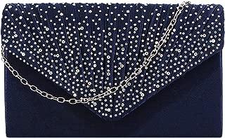 Gabrine Womens Pleated Satin Rhinestone Evening Bag Envelop Bag Handbag Clutch Purse for Wedding Prom Party