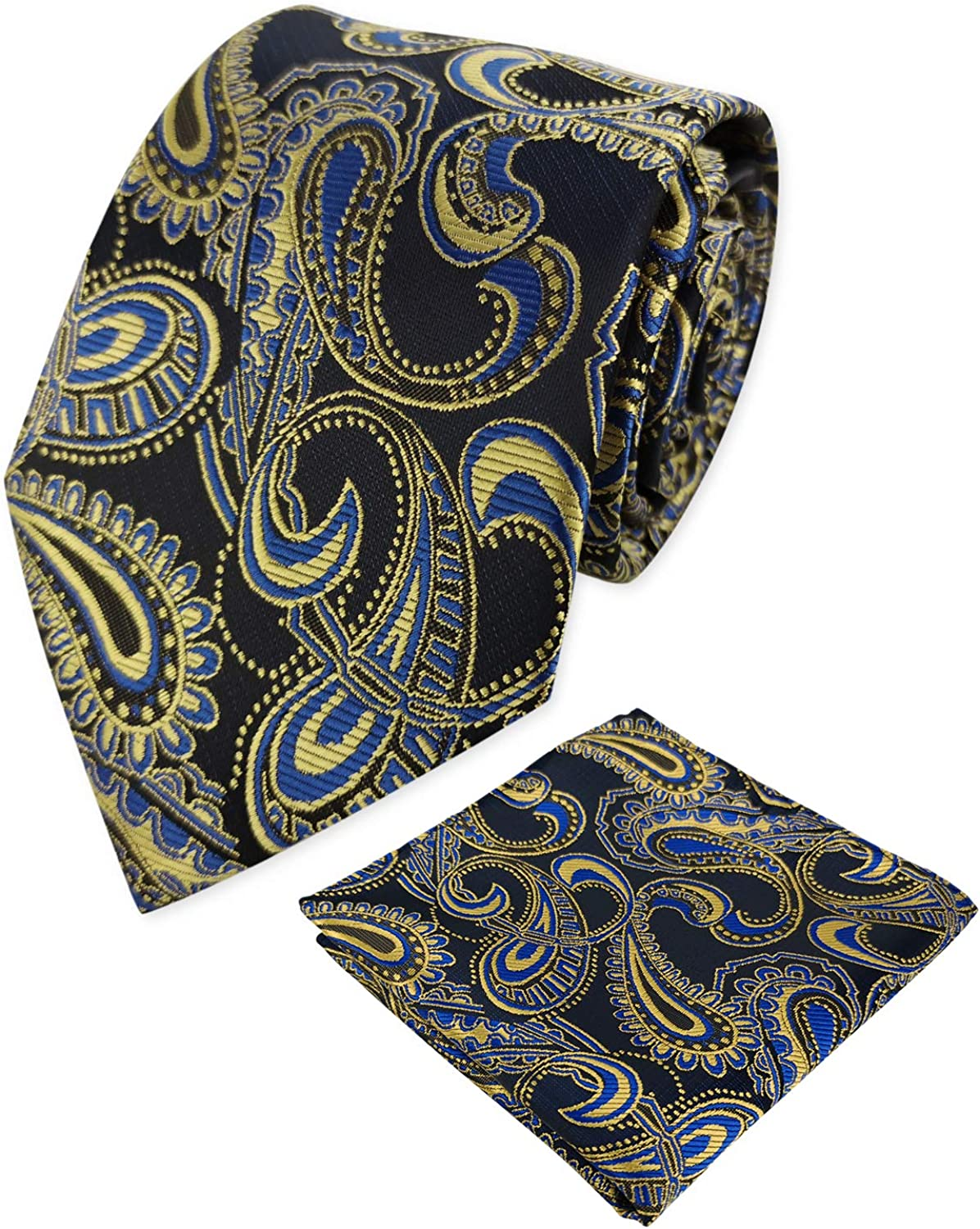 KOOELLE Mens Classic Paisley Jacquard Necktie Woven Ties Set with Pocket Square